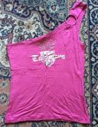 bluzeczka rozowa na ramie z nadrukiem...