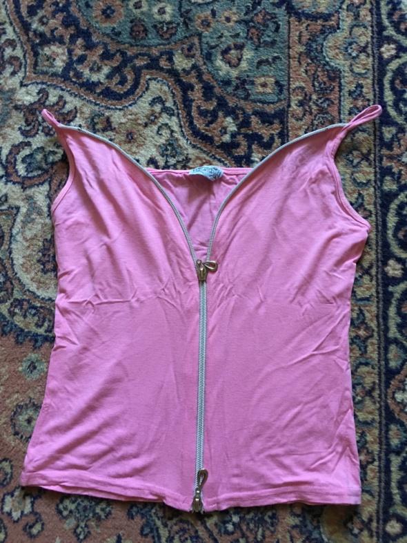 Bluzki sexy rozowa bluzeczka na zamek na ramiaczkach