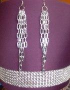 Seksowne kolczyki łańcuchy w kolorze srebra