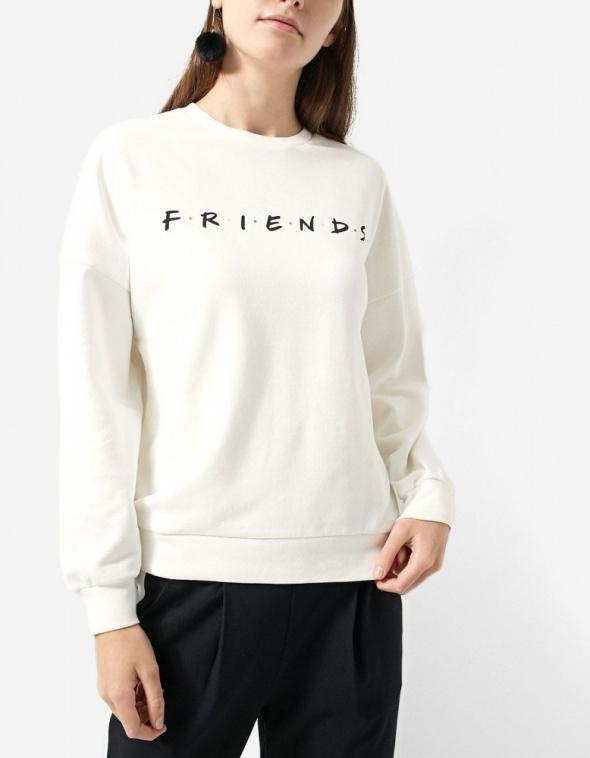 Ubrania Biała bluza Friends Stradivarius