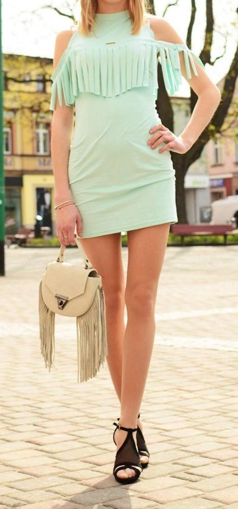 Suknie i sukienki Miętowa sukienka z fręfzelkami rozmiar S