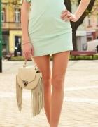 Miętowa sukienka z fręfzelkami rozmiar S...