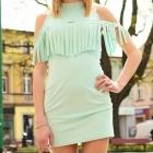 Miętowa sukienka z fręfzelkami rozmiar S
