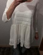 Elegancka biała bluzka tunika Basic minimalizm