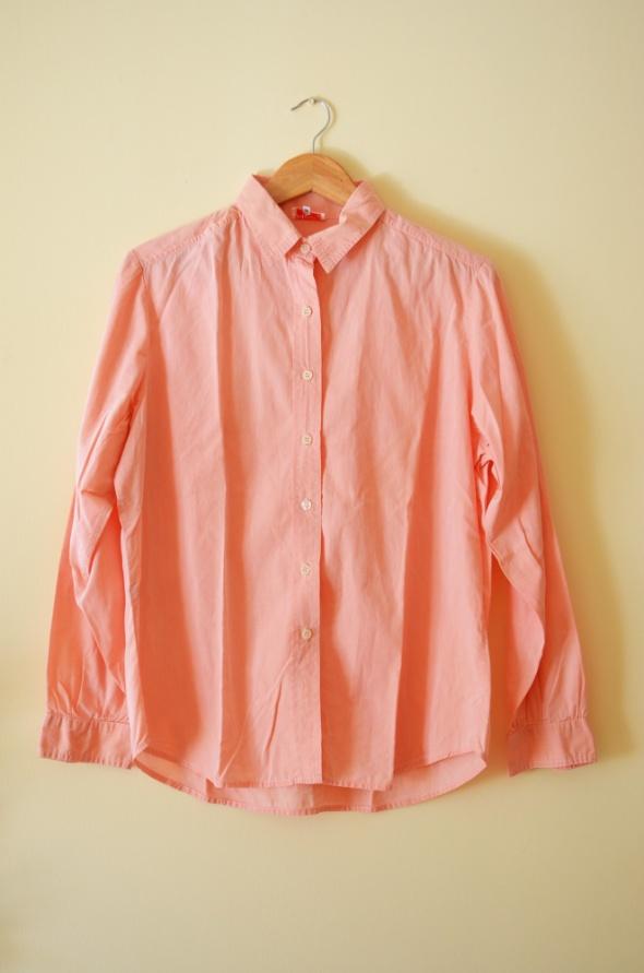 Bawełniana łososiowa koszula z długimi rękawami 44