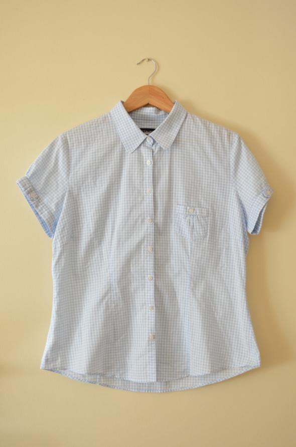 Błękitno biała koszula w drobną kratkę rozmiar 44