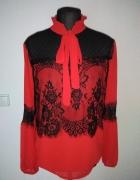 NOwa czerwona koronkowa wiązana bluzka