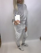 velvet srebrny gołębi dres komplet spodnie bluza