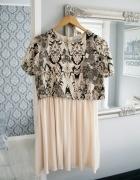 Sukienka 36 S floral asos Wesele Nude rozkloszowana