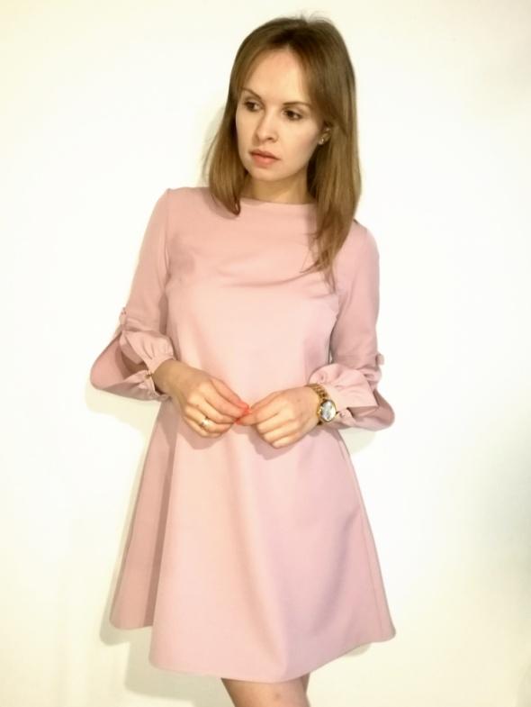 d4ba83eaa5 Suknie i sukienki Sukienka trapezowa efektowne rękawy 2 kolory rozmiar m