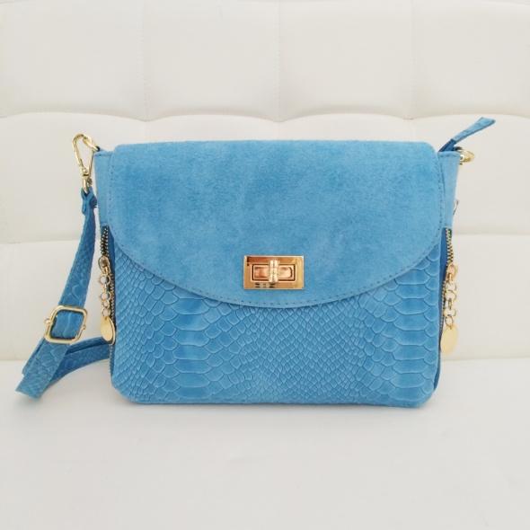 f701f1b1e8d38 Torebki na co dzień Włoska skórzana torebka listonoszka vera pelle błękitna  niebieska baby blue