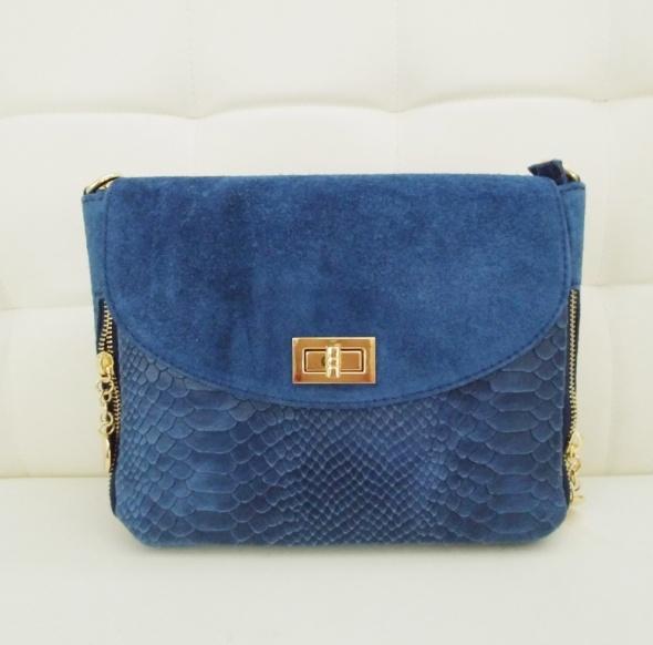 f91e9ce7b86c5 Włoska skórzana torebka listonoszka vera pelle niebieska jeansowa w ...
