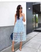 Baby blue sukienka koronkowa