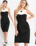 MARCELL VON BERLIN sukienka czarno kremowa 44