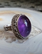 stary srebrny pierścionek ametyst