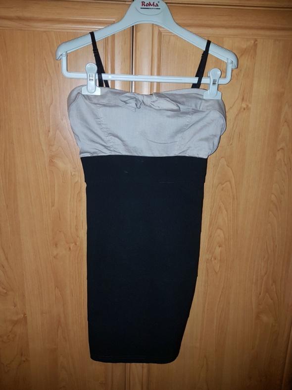czarna sukienka z beżową górą...