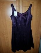 sukienka z bolerkiem fioletowa