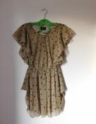 AX Paris sukienka tunika beż brąz mgiełka groszki