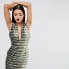 Sukienka cekinowa głęboki dekolt 36