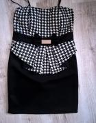 Sukienka mini czarna biała kratka pepitka elegancka 36 S minimalizm kokarda falbanka musthave