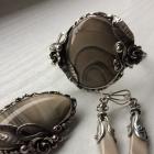 Krzemień pasiasty pierścionek broszka bransoletka kolczyki