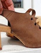 skóra naturalna włoskie sandały słupek
