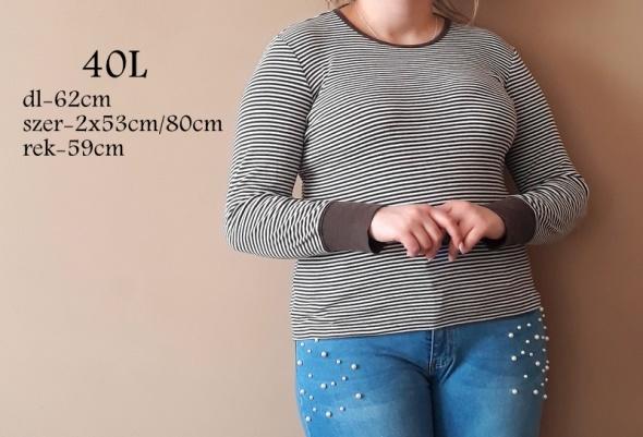 Bluzki Klasyczna bawełniana bluzka w prążki beżowo biała rozmiar 40