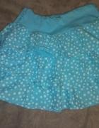 Letnia niebieska spódniczna z falbankami w groszki
