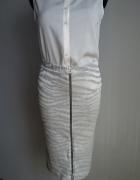 Spódnica ołówkowa midi zip szara