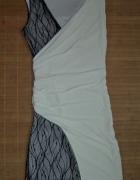 Sukienka biało czarna koronka