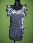 Sukienka srebrna welurowa