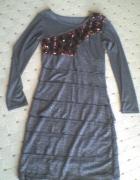 nowa szara sukienka