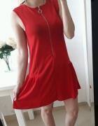 Primark sukienka czerwona zamek z przodu M