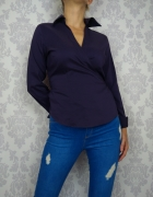 Nowa Elegancka fioletowa koszula wiązana kopertowa bluzka Next