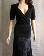 PAOLA SCARPJOLTA czarna sukienka kopertowa 36