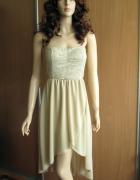 Asymetryczna beżowa wizytowa sukienka 36 38
