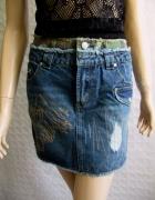 C&A jeansowa mini spódnica przetarcia moro 38