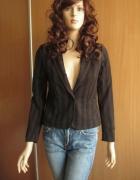 H&M żakiet w czarno brązowe paski 36