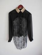 czarna koszula bluzka mgiełka