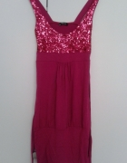 obcisła wiązana różowa sukienka z cekinami