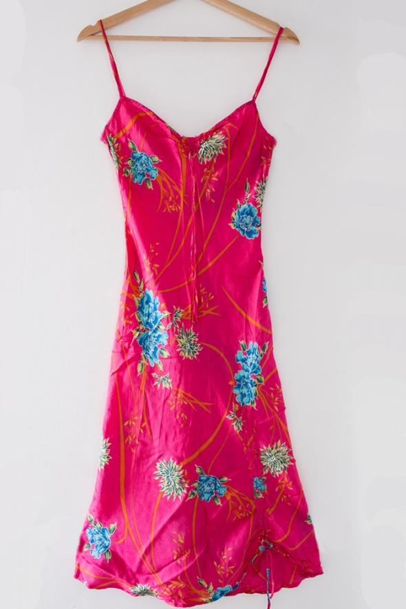 4eb93f0a73 Zara jedwabna rozowa sukienka w kwiaty boho maxi w Suknie i sukienki ...