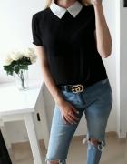 Boohoo bluzka czarna koszulowa biały z kolnierzykiem M