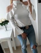 Bluzka falbanki ozdobne rękawy biała SM