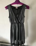 Nowa asymetryczna sukienka Only srebrna r M...
