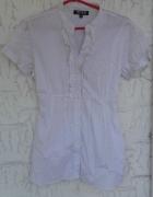 Biała koszula w groszki z żabotem M Butik