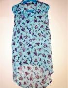 koszula błękitna kwiaty mgiełka s 36 długi tył