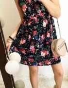 Grantowa sukienka Damska w kwiaty koronka M
