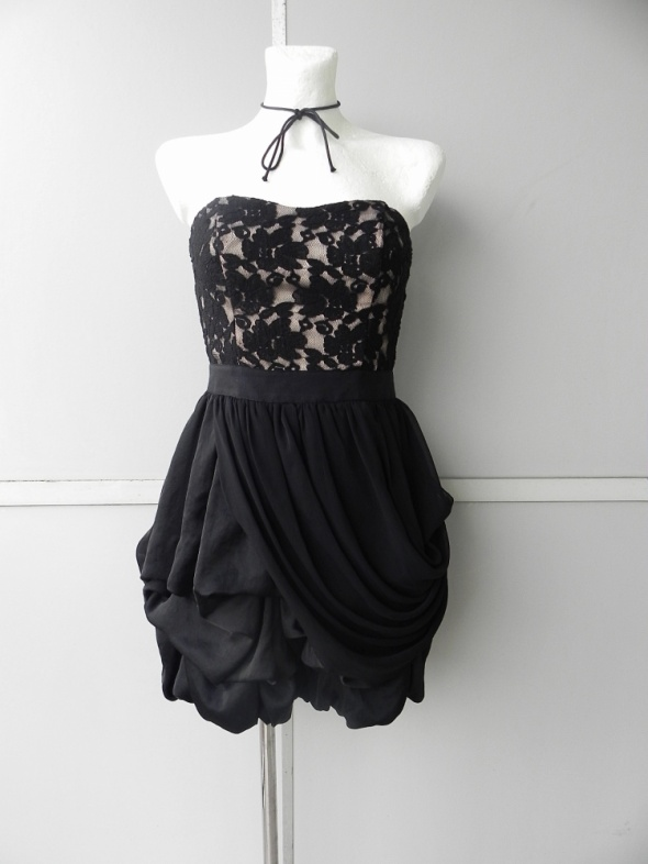 Next gorsetowa sukienka czarna z koronką 36...