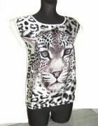 satynowa koszulka lampart butik S
