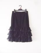czarna spódnica midi falbana M